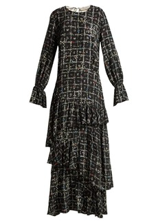 Preen Line Amina tiered vine-print dress