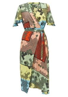Preen Line Bessara mosaic-print crepe de Chine midi dress