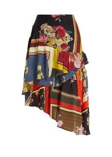 Preen Line Blossom floral-print asymmetric tiered skirt