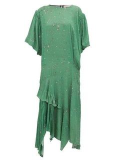 Preen Line Camilla asymmetric ditsy-print crepe midi dress