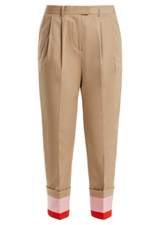 Preen Line Daria striped-cuff stretch-cotton cropped trousers