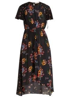 Preen Line Feben gathered-detail floral-print midi dress