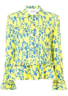 Preen floral print denim jacket with frill trim
