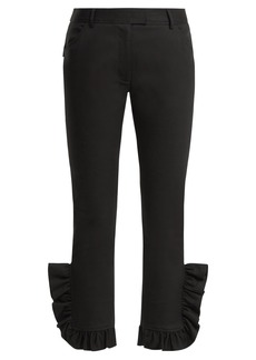 Preen Line Kala ruffle-trimmed skinny stretch-cotton trousers