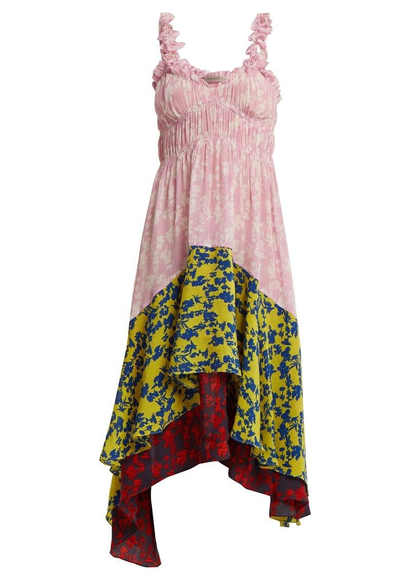 Preen Line Lilah panelled floral-print crepe dress