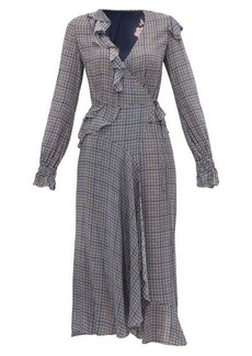 Preen Line Maieke ruffled gingham and floral-print dress