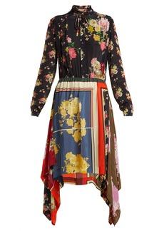 Preen Line Mila floral-print handkerchief-hem dress