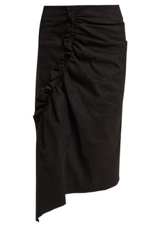 Preen Line Ruffled asymmetric cotton-blend pencil skirt
