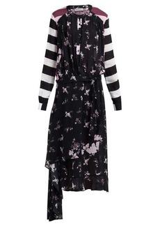 Preen Line Sora floral and stripe-print asymmetric dress