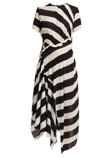 Preen Line Striped asymmetric-hem crepe dress