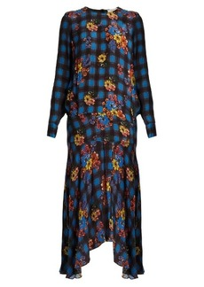 Preen Line Tilly floral and check-print crepe dress