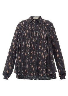 Preen Line Winnie gathered floral-print crepe de Chine blouse
