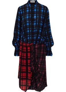 Preen Line Woman Anz Paneled Checked Crepe De Chine Shirt Dress Black