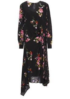 Preen Line Woman Asymmetric Floral-print Crepe De Chine Midi Dress Black