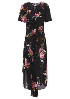 Preen Line Woman Asymmetric Ruched Floral-print Crepe De Chine Midi Dress Black