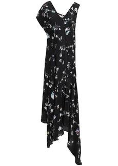 Preen Line Woman Dana Asymmetric Floral-print Crepe De Chine Midi Dress Black