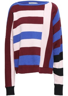 Preen Line Woman Daria Striped Cotton-blend Sweater Pastel Pink