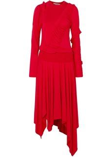 Preen Line Woman Estela Asymmetric Ruched Stretch-cotton Jersey Midi Dress Tomato Red