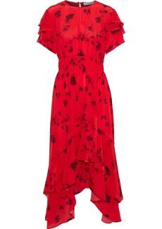 Preen Line Woman Esther Asymmetric Printed Satin-crepe Midi Dress Red