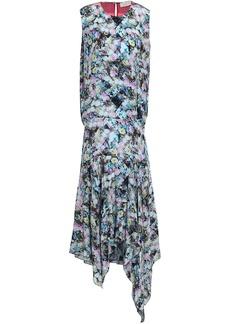 Preen Line Woman Flora Asymmetric Printed Crepe De Chine Midi Dress Sky Blue