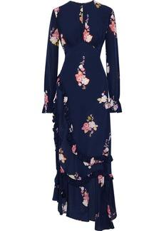 Preen Line Woman Gabriella Asymmetric Gathered Floral-print Crepe De Chine Maxi Dress Navy