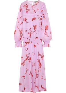 Preen Line Woman Gilda Ruffle-trimmed Floral-print Chiffon Maxi Dress Pink