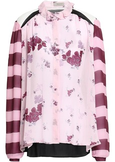 Preen Line Woman Grace Ruffle-trimmed Paneled Printed Georgette Blouse Baby Pink