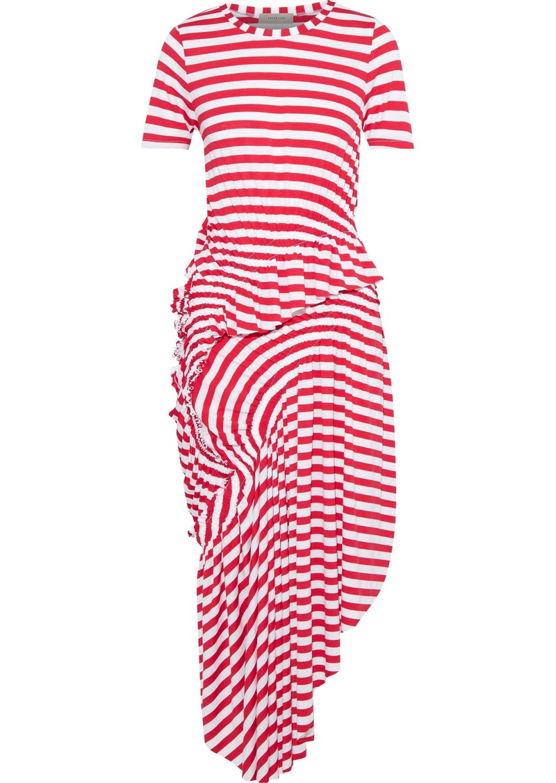 Preen Line Woman Lala Asymmetric Ruched Striped Stretch-jersey Midi Dress Red