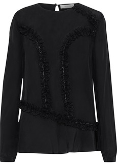 Preen Line Woman Lara Ruffled Lace-trimmed Crepe De Chine Blouse Black