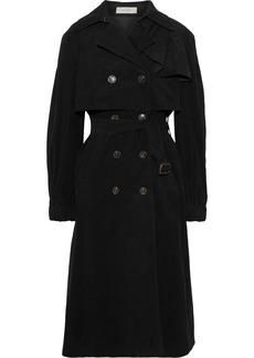 Preen Line Woman Mia Ruffle-trimmed Cotton-corduroy Trench Coat Black