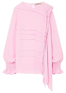 Preen Line Woman Pleated Crepe De Chine Blouse Baby Pink