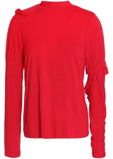 Preen Line Woman Ruffle-trimmed Stretch-cotton Jersey Top Red