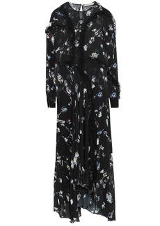 Preen Line Woman Sana Asymmetric Floral-print Georgette Maxi Dress Black