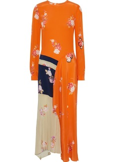 Preen Line Woman Selena Asymmetric Floral-print Crepe De Chine Maxi Dress Bright Orange
