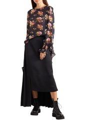 Preen Line Woman Sofia Floral-print Georgette Blouse Black