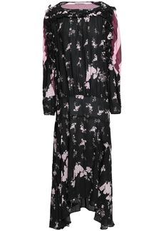 Preen Line Woman Sora Paneled Printed Crepe De Chine Maxi Dress Black