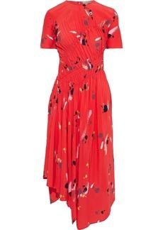 Preen Line Woman Violet Asymmetric Ruched Printed Crepe De Chine Midi Dress Papaya