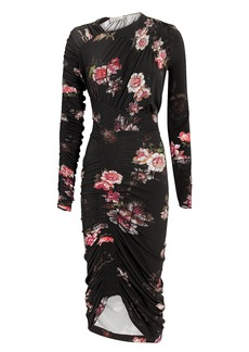 Preen Rene Floral Ruched Dress