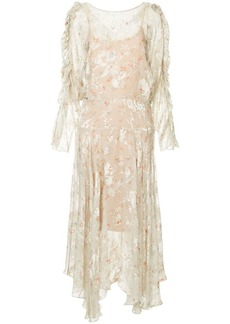 Preen sheer floral drop-waist dress