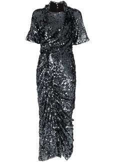 Preen Sophia sequin-embellished ruched midi-dress