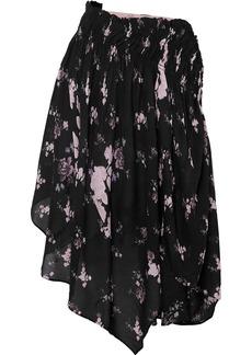 Preen Sumin Asymmetric Floral-print Crepe De Chine Skirt