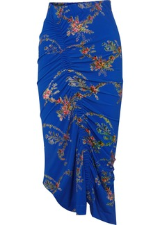 Preen Tracy Ruched Floral-print Stretch-crepe Midi Skirt
