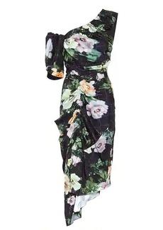 Preen Willabelle floral one-shoulder midi dress