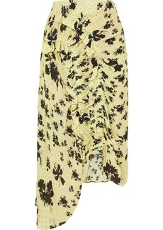 Preen Yuna Ruffled Shirred Floral-print Georgette Midi Skirt