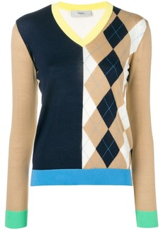 Pringle argyle colour block knitted top