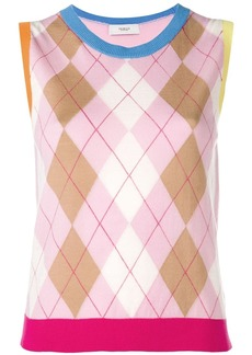 Pringle Argyle Colour Block Sleeveless Jumper In Pink/Camel