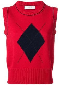 Pringle argyle patch knitted vest