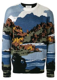 Pringle Of Scotland postcard landscape jumper - Blue