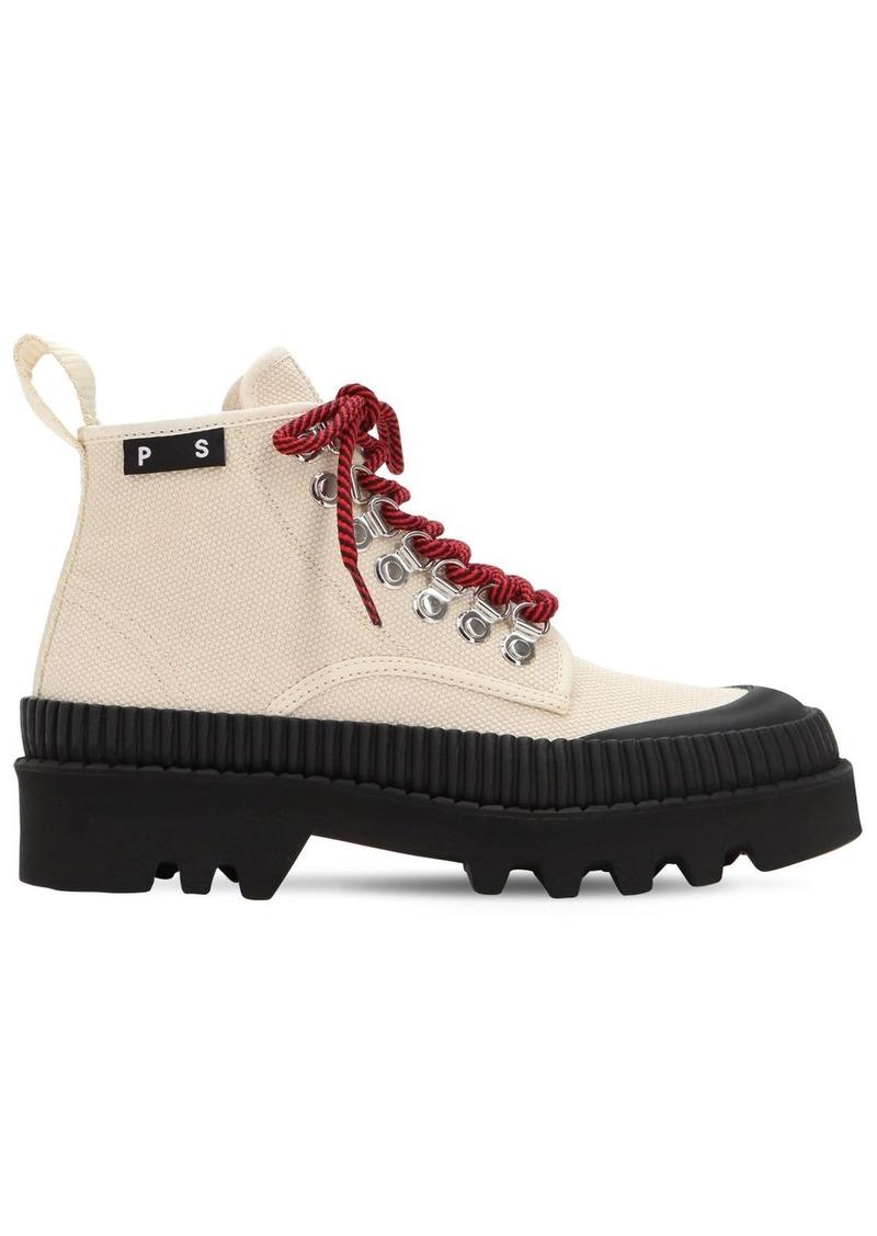 Proenza Schouler 30mm Cotton Canvas Hiking Boots