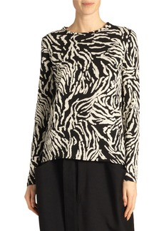 Proenza Schouler Animal-Print Long-Sleeve Crewneck Top